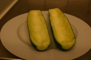 Hollowed-out zucchini