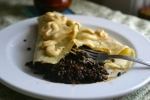 Black Lentils and pumpkin yogurt crepes
